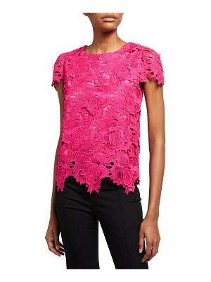 Milly 3D Floral Lace Cap-Sleeve Top