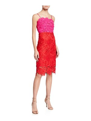 Milly 3D Lace Sleeveless Colorblock Sheath Dress