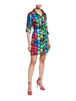 Milly Button-Front 3/4-Sleeve Cube-Print Mini Shirtdress