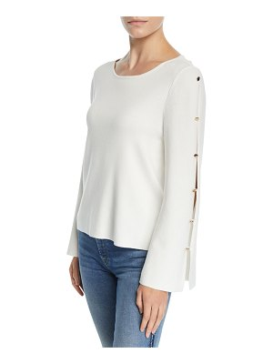 Milly Button-Sleeve Viscose-Blend Pullover