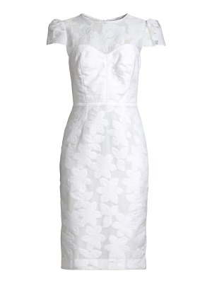 Milly carolina floral cap-sleeve sheath dress