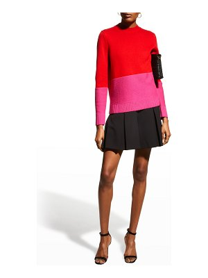 Milly Colorblock Wool-Cashmere Crew Sweater
