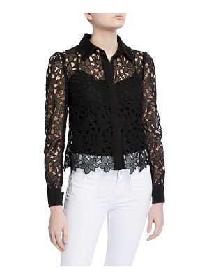 Milly Eleanora Floral Guipure Lace Button-Down Top