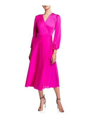 Milly Gina Long-Sleeve Midi Wrap Dress