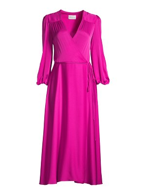Milly gina stretch silk midi wrap dress