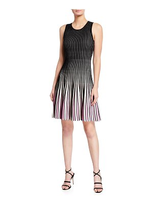 Milly Inset Stripe Fit-&-Flare Godet Dress