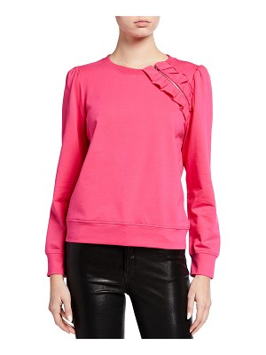 Milly Jenny French Terry Sweatshirt w/ Shoulder Ruffle