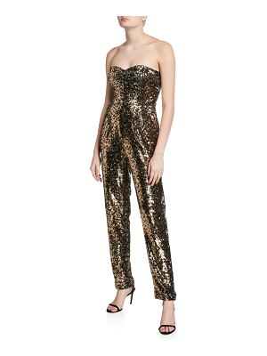 Milly Jes Leopard Sequins Strapless Sweetheart Jumpsuit