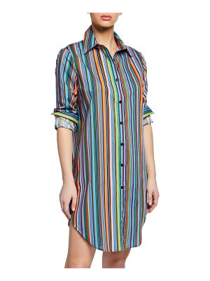 Milly Jessica Striped Button-Front Long-Sleeve Coverup