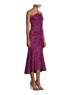Milly leopard print silk jacquard midi dress