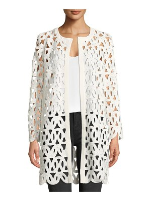 Milly Long-Sleeve Open-Front Sheer Lace Embroidered Coat