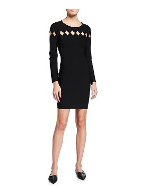 Milly Long Sleeve Scallop Cutout Fitted Dress