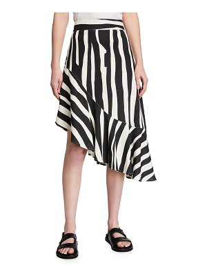 Milly Lucy Abstract Zebra-Print Asymmetric Skirt