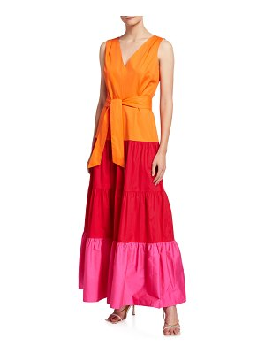 Milly Nicola Colorblock Tiered Poplin Maxi Dress