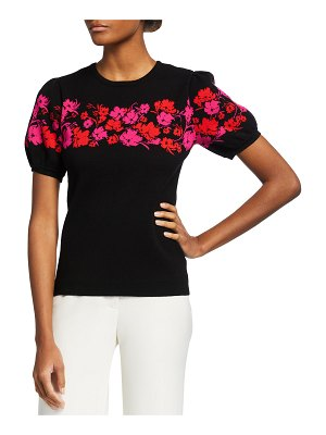 Milly Placed Floral Short-Sleeve Top