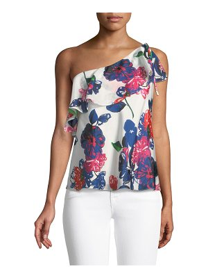 Milly Positano Floral-Print Silk One-Shoulder Top