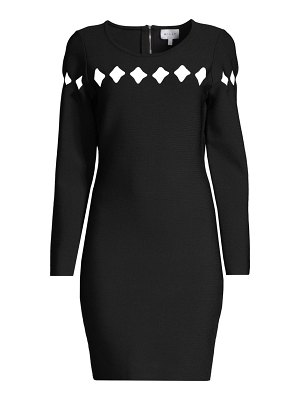 Milly scallop cutout long-sleeve dress