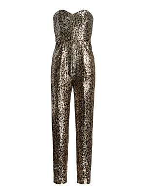 Milly sequin leopard strapless jumpsuit