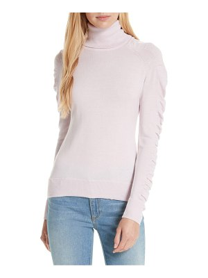 Milly shirred sleeve wool turtleneck sweater