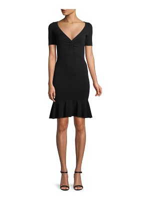 Milly Shirred V-Neck Flounce-Hem Dress