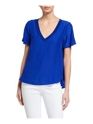 Milly V-Neck Silk Tee with Knit Trim
