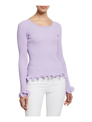 Milly Wired Edge Long-Sleeve Pullover