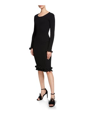 Milly Wired Edge Scoop-Neck Long-Sleeve Fitted Dress