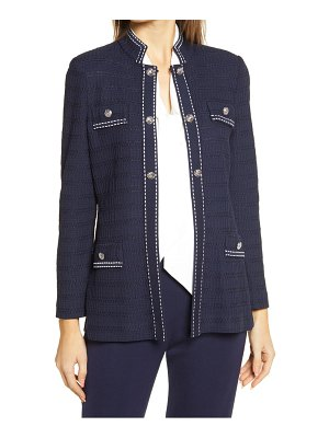 Ming Wang contrast stitch detail knit jacket