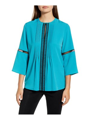 Ming Wang embroidery detail bell sleeve blouse
