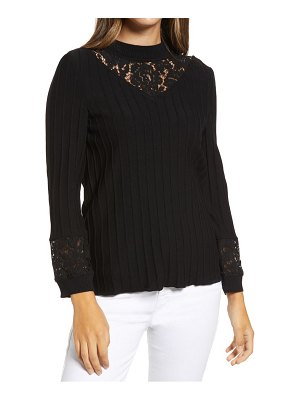 Ming Wang lace inset mock neck sweater