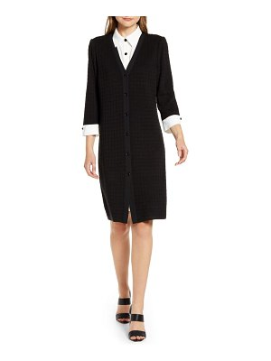 Ming Wang layered look sweater dress