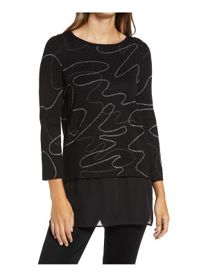 Ming Wang layered look tunic sweater
