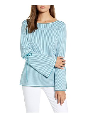 Ming Wang stripe tie detail bell sleeve top