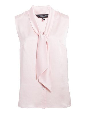 Ming Wang tie neck sleeveless blouse