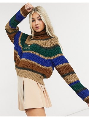 Minga london cropped turtle neck chunky knit sweater with teddy bear embroidery in stripe-brown