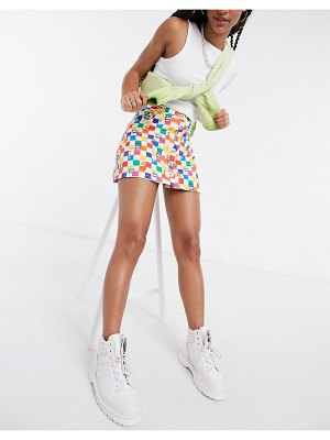 Minga london mini skirt with buttons in rainbow check-multi