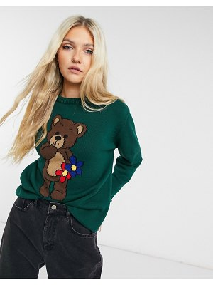 Minga london oversized knitted sweater with teddy graphic-green