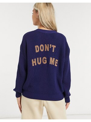 Minga london relaxed cardigan with contrast buttons and teddy embroidery-navy