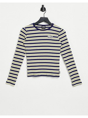Minga london ribbed long sleeve t-shirt with embroidered logo in stripe-blues