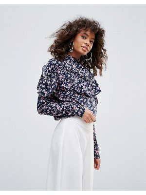 Minimum High Neck Top With Ruffle