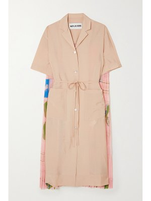 MINJUKIM pleated printed voile and woven midi shirt dress