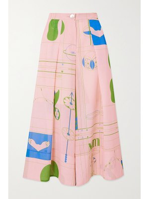 MINJUKIM pleated printed voile culottes