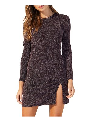 MINKPINK metallic texture long sleeve minidress