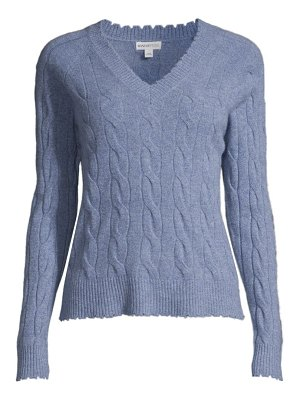 Minnie Rose distressed cable-knit sweater