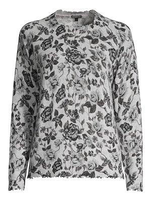 Minnie Rose cashmere floral crewneck sweater