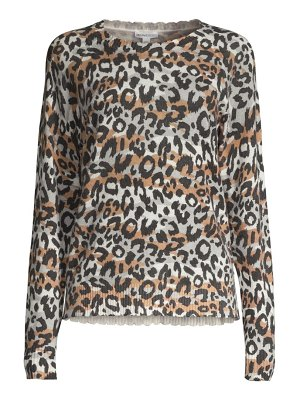 Minnie Rose cashmere leopard-print crewneck sweater