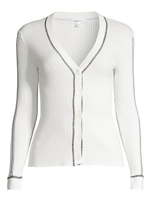 Minnie Rose contrast stitch ribbed cardigan sweater