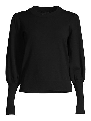 Minnie Rose crewneck puff-sleeve sweater