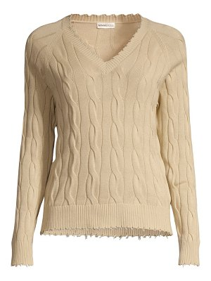 Minnie Rose distressed cable-knit cotton sweater