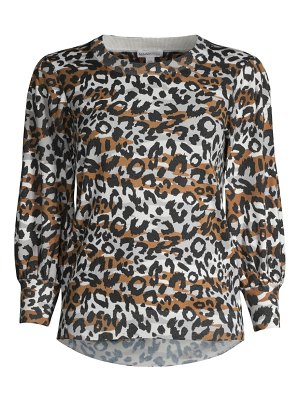 Minnie Rose leopard-print puff-sleeve top